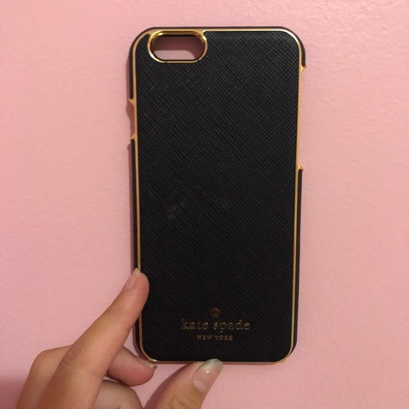 new product 5a31a 4ee6f Kate Spade - Black IPhone 6 Case with Gold Rim